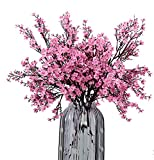 JAKY Global Babys Breath Gypsophila Artificial Flowers 4 Bundle European Fake Silk Plants Decor Wedding Party Decoration Bouquets Real Touch DIY Home Garden(Pink)