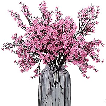 JAKY Global Babys Breath Fabric Cloth Artificial Flowers 6 Bundle European Fake Silk Plants Decor Wedding Party Decoration Bouquets Real Touch DIY Home Garden(Pink)