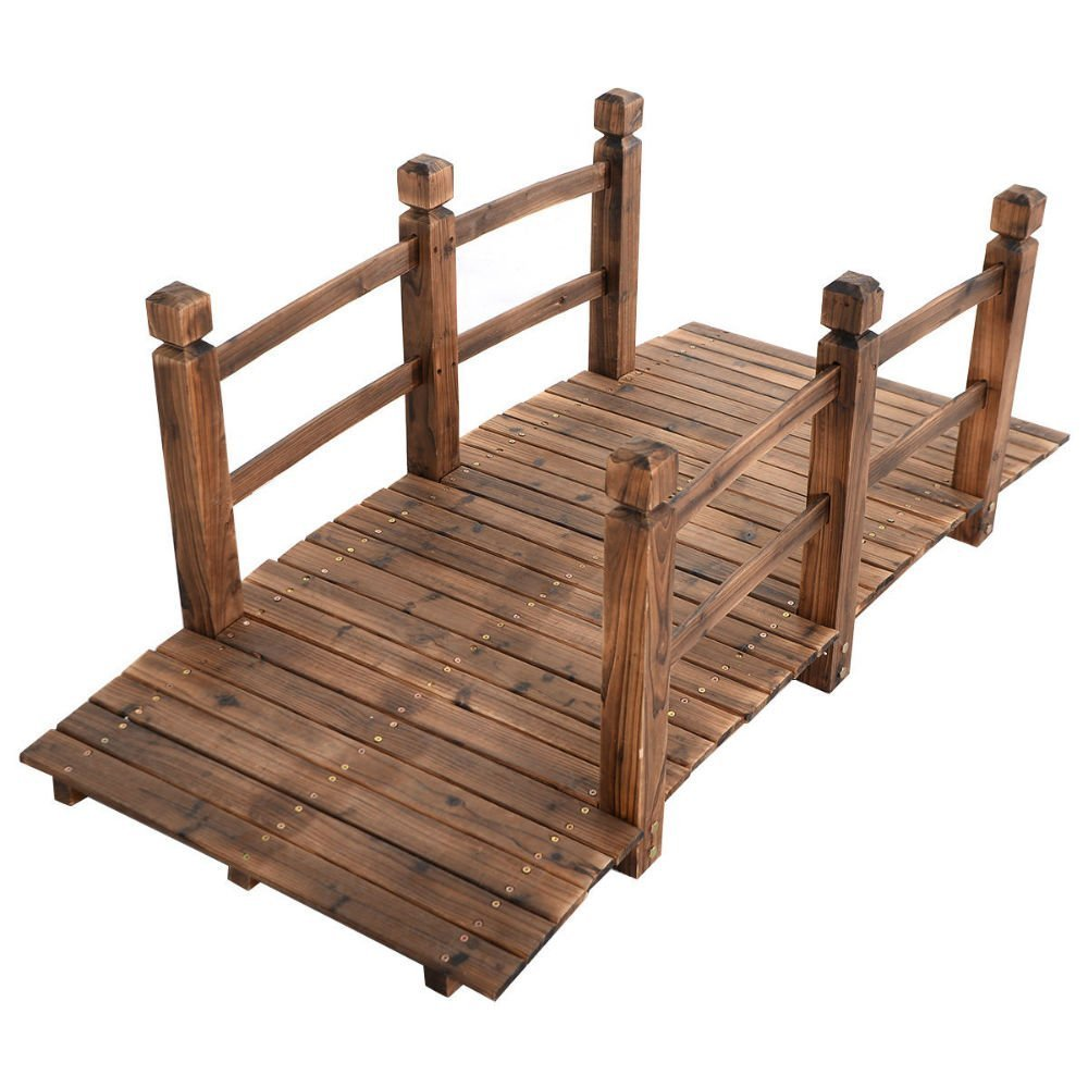 5' Wooden Bridge Stained Finish Decorative Solid Wood Garden Pond Arch Walkway by Unbrandedq (Image #3)