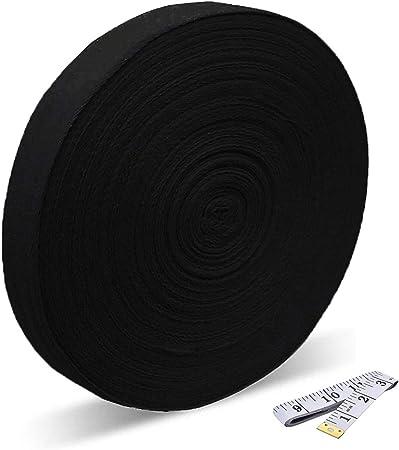 Cinta de algodón de 50 metros y 2,5 cm de anchura, cinta bies de algodón, patrón espiguilla, cinta de sarga para coser, ornamentar, ribetear, cinta para costura y manualidades., negro, talla única:
