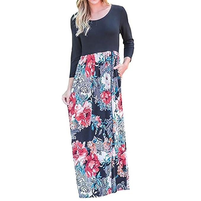 851fba51ad3 Longra Women Floral Print Long Sleeve High Waist Boho Long Maxi Dresses  with Pockets Long Summer