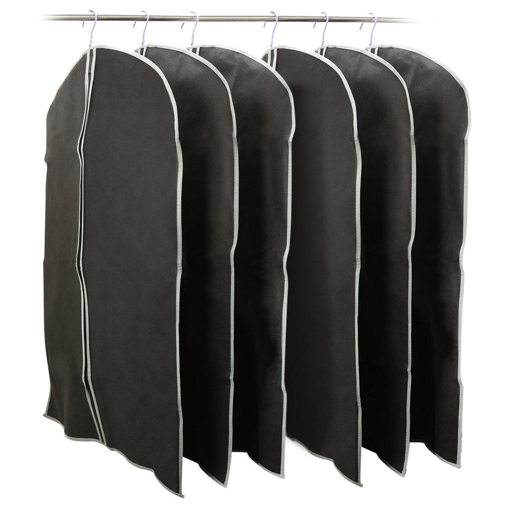 EZOWare 39 inch Garment Bag, Black Foldable Breathable Garment Suit Shirt Dress Jacket Coat Dust Cover Travel Bag - Set of 6