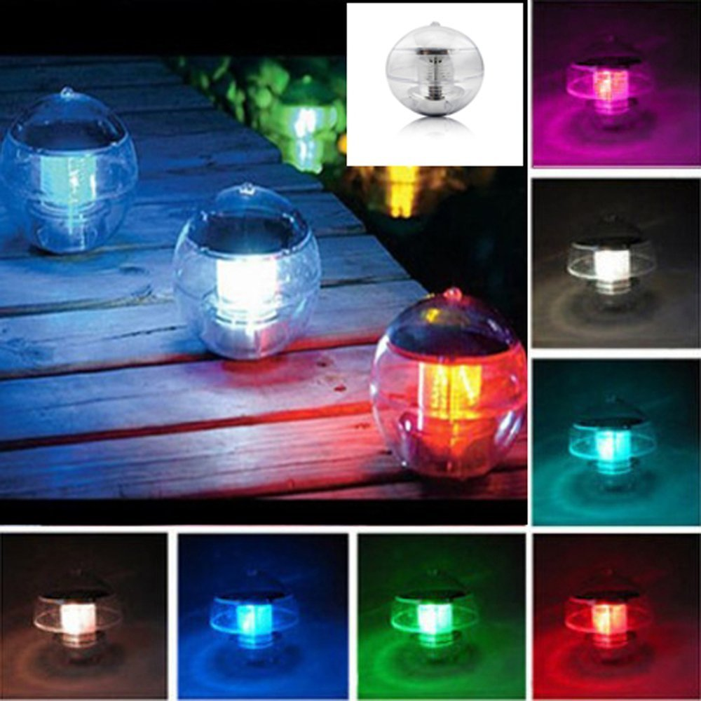 Aberobay Solar Power Waterproof Automatic Color Changing LED 7 Colors Floating Swimming Lantern ShapeGlobe Pool Pond Party Ball Light Decoration Night Lights Lamp (pool light)