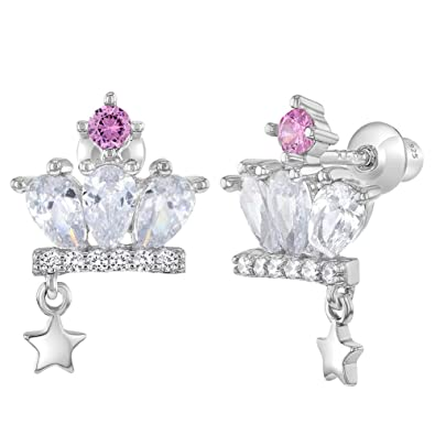 23535a80d 925 Sterling Silver Clear Pink CZ Princess Crown Screw Back Earrings for  Girls: Amazon.co.uk: Jewellery