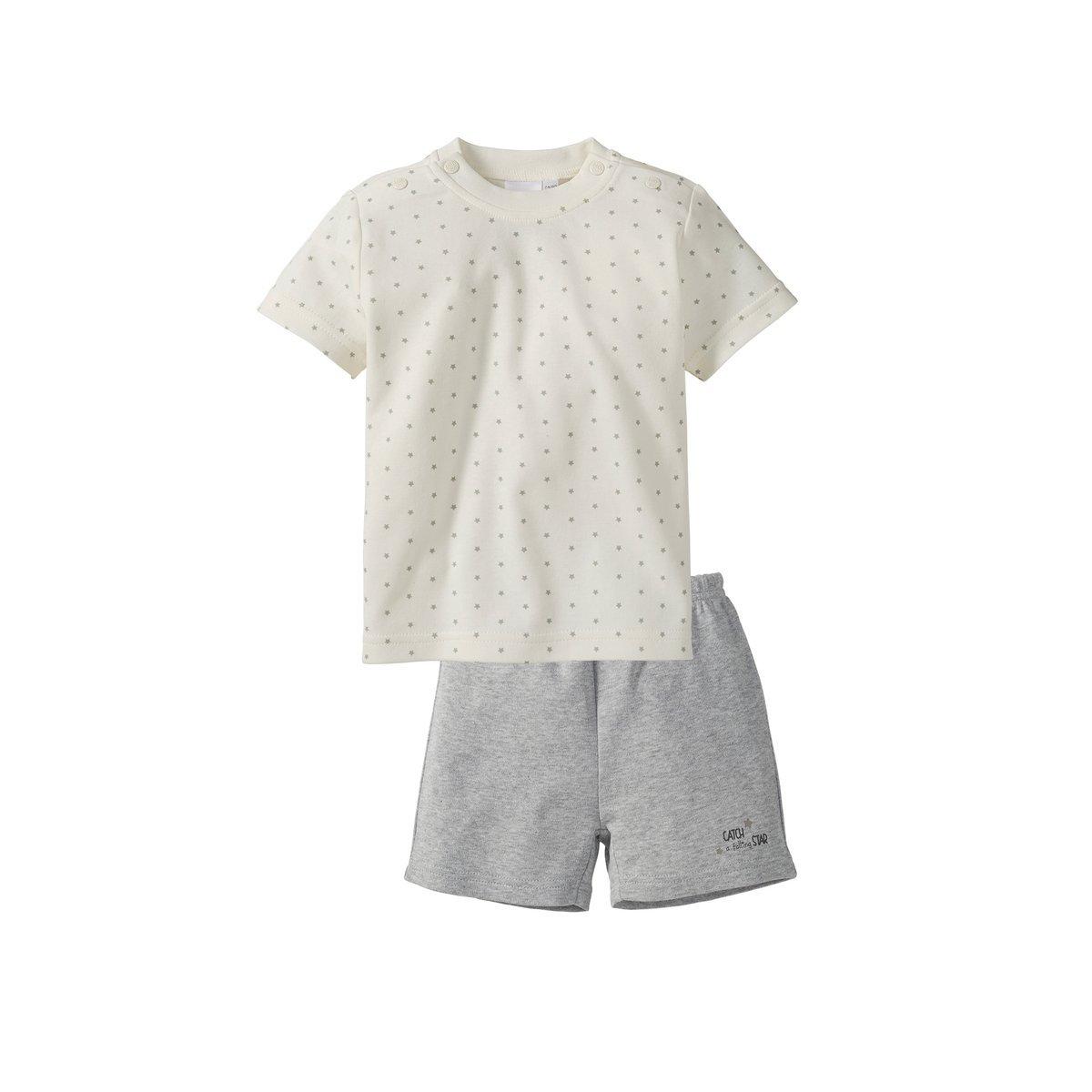 Bornino Schlafanzug kurz/Basics Baby Bekleidung/T-Shirt/Hose / Sterneallover/grau Melange