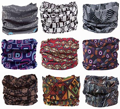 Kingree 9PCS Headbands, Outdoor Multifunctional Headwear, Sports Magic Scarf, High Elastic Headband with UV Resistance, Athletic Headwrap, Mens Sweatband, Womens Hairband (Gentleman)