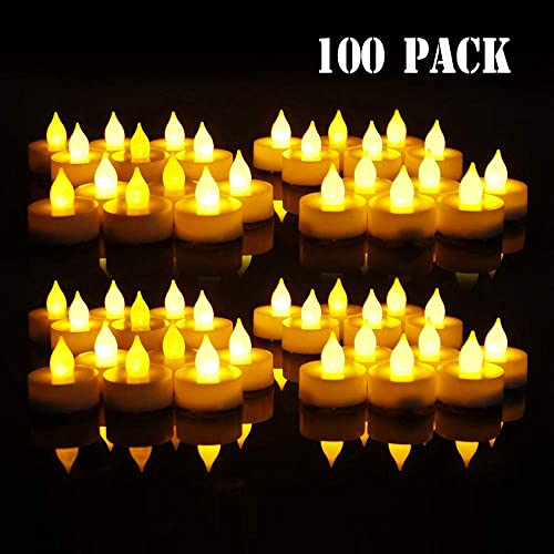 CANDLE CHOICE Flameless LED Tea Light Candles,100 Pack Votive Tealight Battery Operated Flickering Warm Yellow Fake Tea Candles for Home Decoration