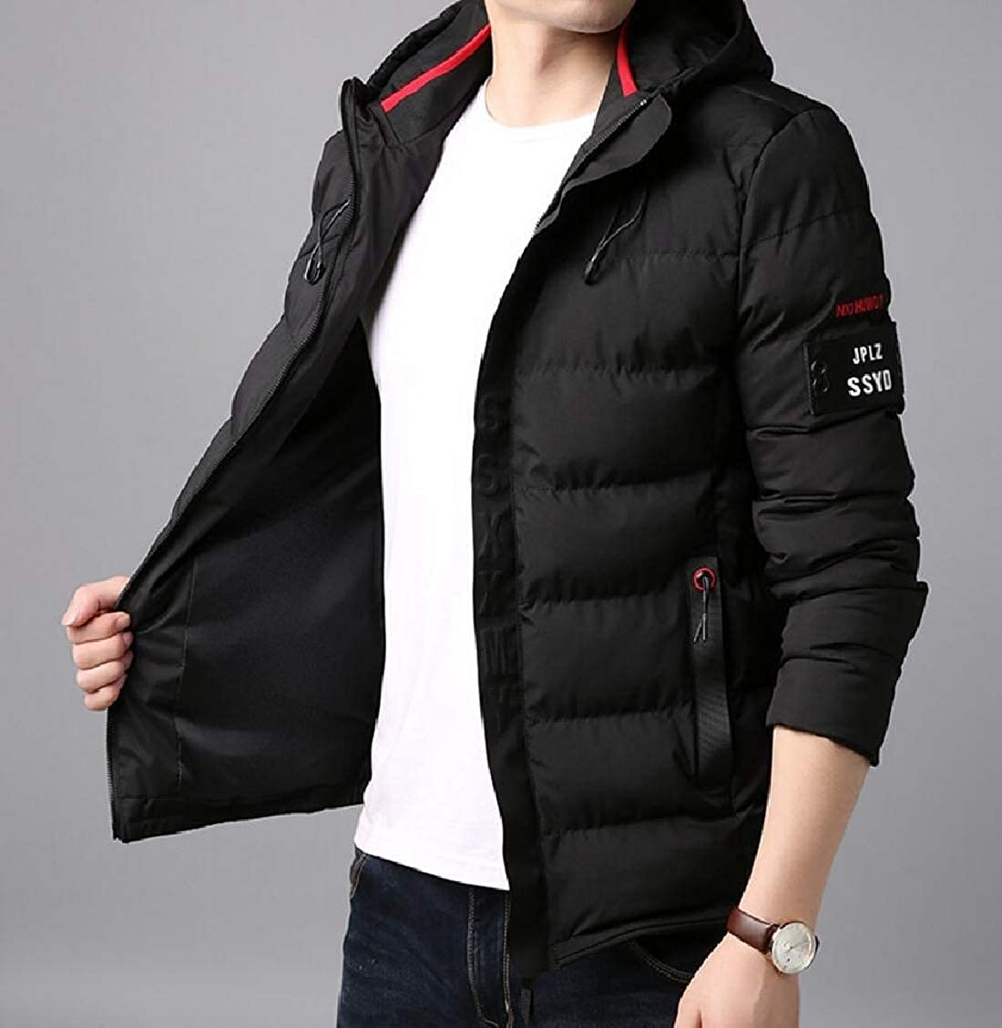 Hokny TD Mens Outdoor Long Sleeve Hooded Padded Parka Outerwear Down Puffer Jacket