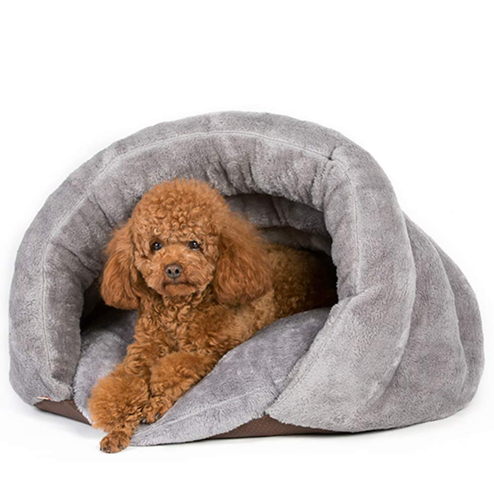 LIZONGFQ Cosy Triangle Cat Bed Winter Warm Thickened Semi-Closed Small Dog, Cat Sleeping Bag (505036cm, Brown),Gray,505036cm
