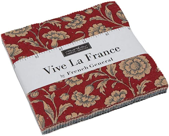 Moda Fabric Vive La France Print Charm Pack - Sold Per 1/4 Metre ...