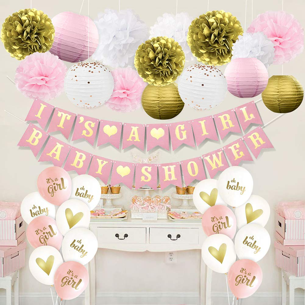 Amazon Com Happyfield Pink And Gold Baby Shower Decorations For