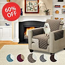 Reversible Quilted Furniture Protector, Microfiber Sofa Chair Protector / Slipcovers with Elastic Straps Stay in Place (Chair: Taupe/Beige) - 75'' X 65''