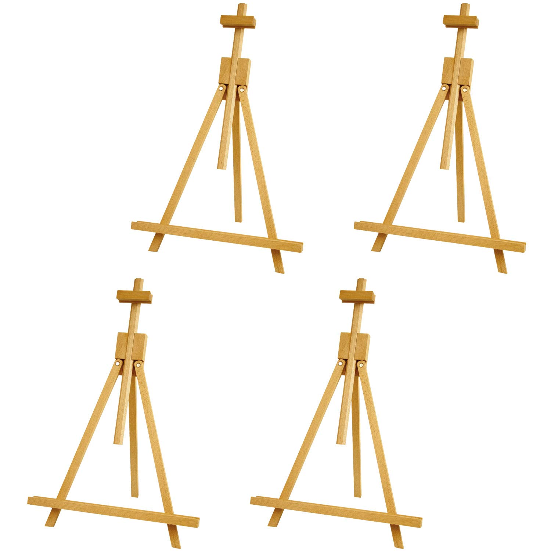 US Art Supply Topanga 18 to 31-1/2 inch High Adjustable Medium Portable Wood Travel A-Frame Easel (4-Easels)