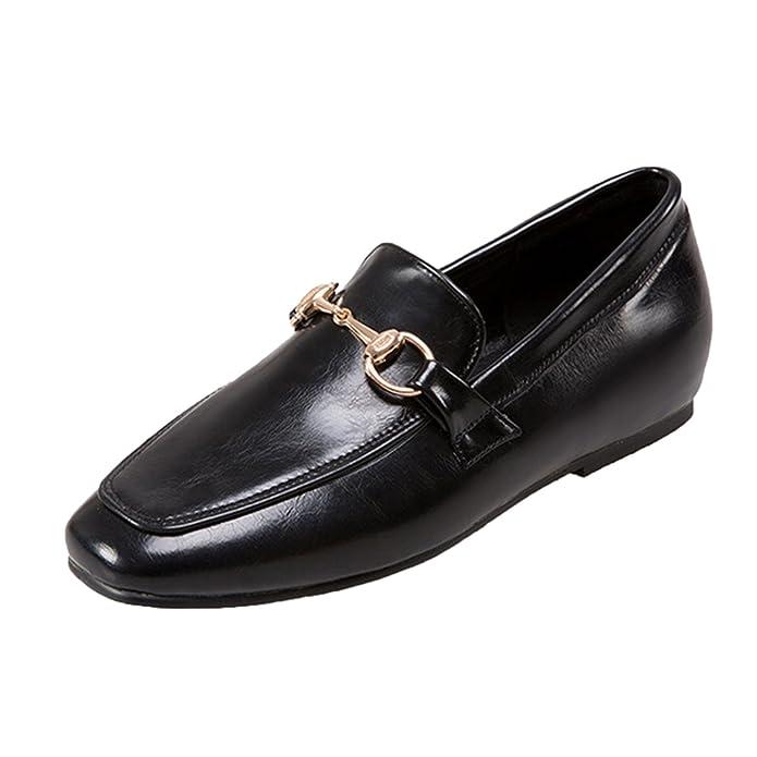 Azbro Mujer Zapato Caballo con Puntera Cuadrado de Tacón Plano,negro EURO36/US5/UK3: Amazon.es: Zapatos y complementos