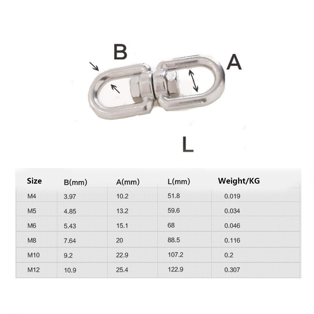 Schl/üsselanh/änger 304 Edelstahl Swivel Ring M4 5//32 5 Pack