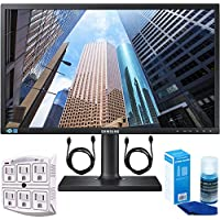 Samsung SE450 Series 24-inch LED Backlit LCD Screen Eco Friendly - Matte Black (S24E450D) + 2x 6ft High Speed HDMI Cable + 6-Outlet Surge Adapter with Night Light + Universal Screen Cleaner