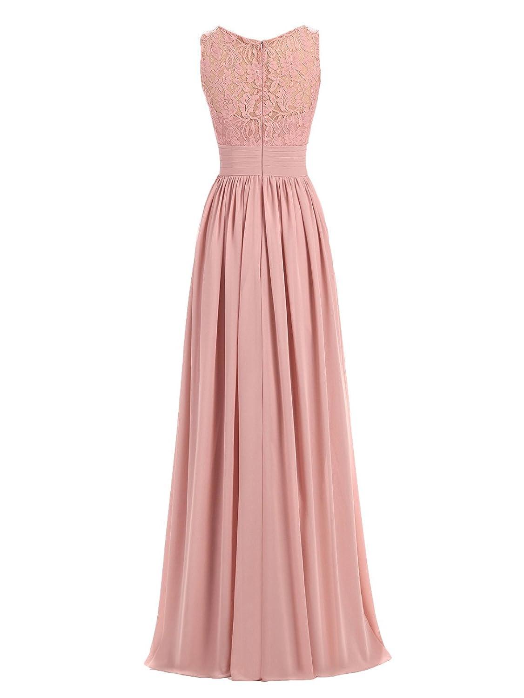 A-line V-Neck Chiffon Long Empire Bridesmaid Dresses Simple Prom ...