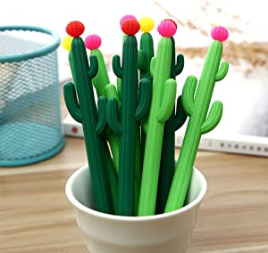 Aimyoo Pack of 30 Cactus Shaped Ballpoint Black 0.5mm Gel Ink Rollerball Pen for School Home Office