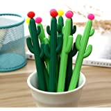 Abgream Pack of 30 Cactus Shaped Ballpoint Black 0.5mm Gel Ink Rollerball Pen for School Home Office