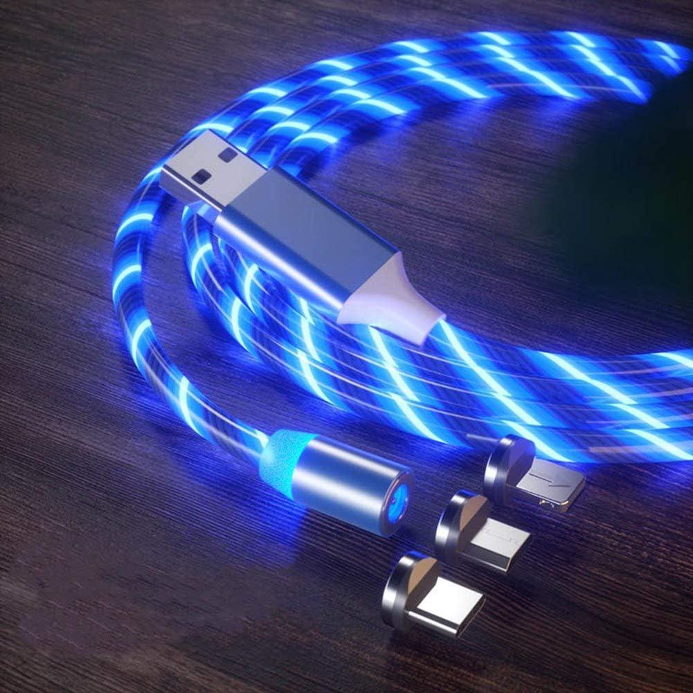 Manda Stell 2.4A - Cable de datos magnético rápido (tipo C, IOS/Micro USB 360)