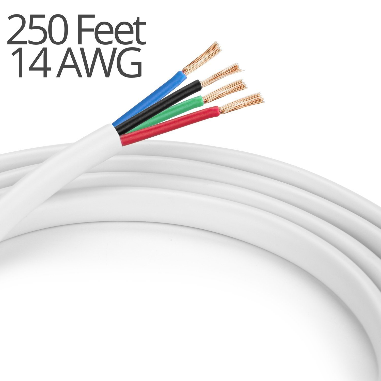 K-tech In Wall Speaker Wire 14AWG UL CL2 Rated 4-Conductor Wire White - Oxygen Free Bare Copper for Home Theater and Car Audio (4-Conductor, 250 Feet) by K-tech