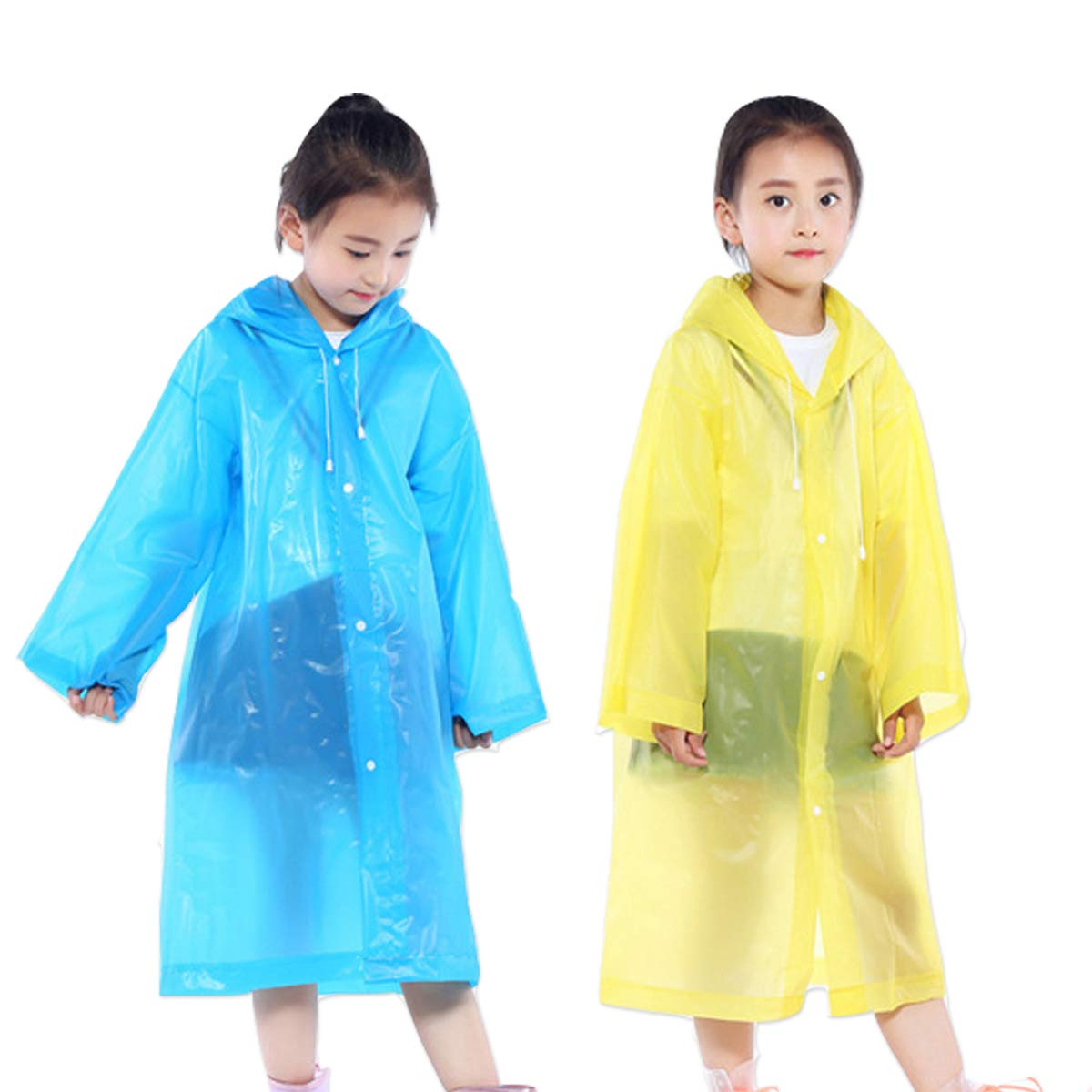 AzBoys Children Rain Ponchos 2Pack, Blue & Yellow, Waterproof Rain Poncho Kids, Portable Reusable Raincoat Boys Girls Ages 6-12 School, Camping, Emergency