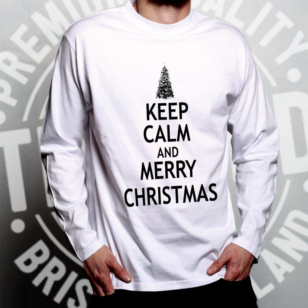 Amazon.com: Christmas Long Sleeve Keep Calm and Merry Xmas: Clothing