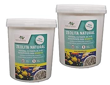 Naturonia Zeolita de Alta Pureza para filtros de Acuarios y estanques Lote 2x1L (1.800g): Amazon.es: Productos para mascotas