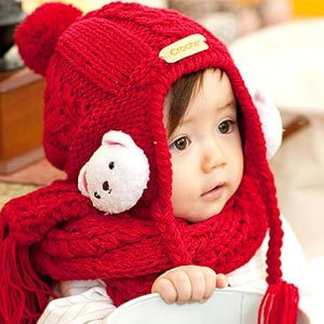 STTS Modelli Autunno e Inverno Carino Piccolo Berretto da Orsetto per  Bambini Vestito Sciarpa Cappello Due 06b614186cc1
