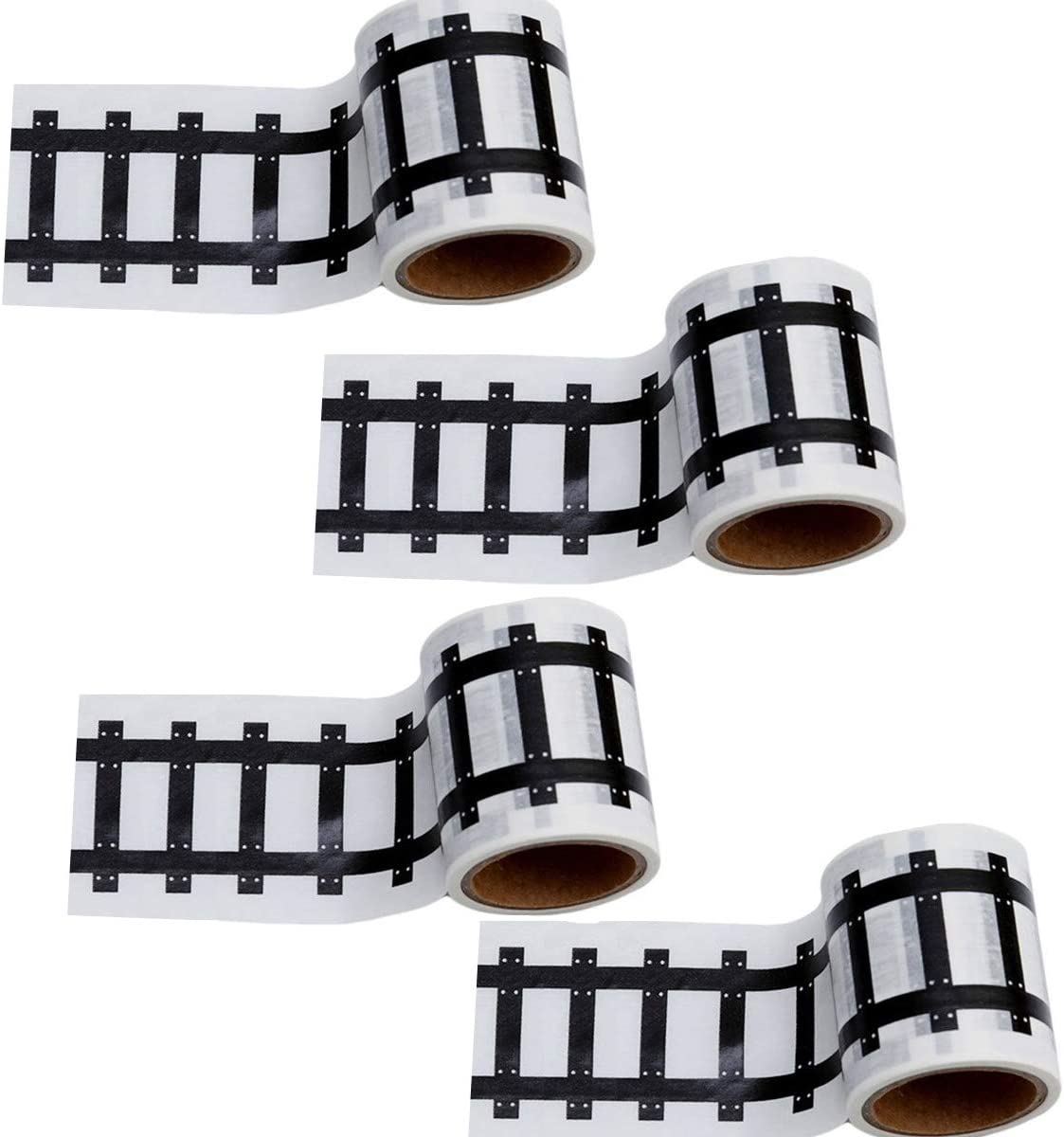 Race Car Track Road Tape Kids Toy Car Party Tape-Sticker Roll for Cars Track and Train Sets, Stick to Floors and Walls, Quick Cleanup (Railway, 4 Rolls)