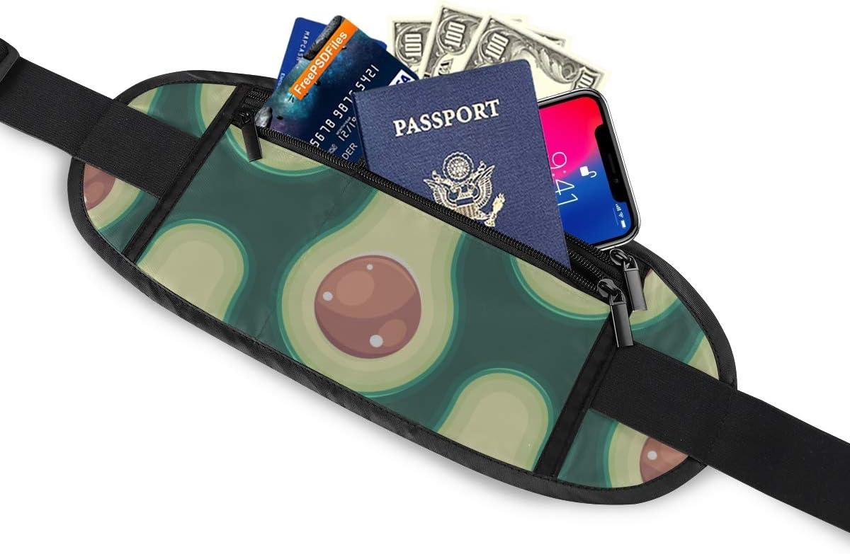 Avocado Pattern Half Avocado Seed Running Lumbar Pack For Travel Outdoor Sports Walking Travel Waist Pack,travel Pocket With Adjustable Belt