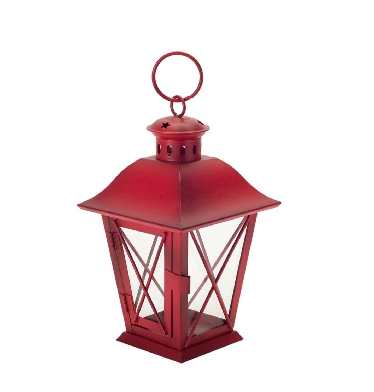 Pack of 6 Red Mini Metal and Designed Glass Lanterns with Handle 11.5''