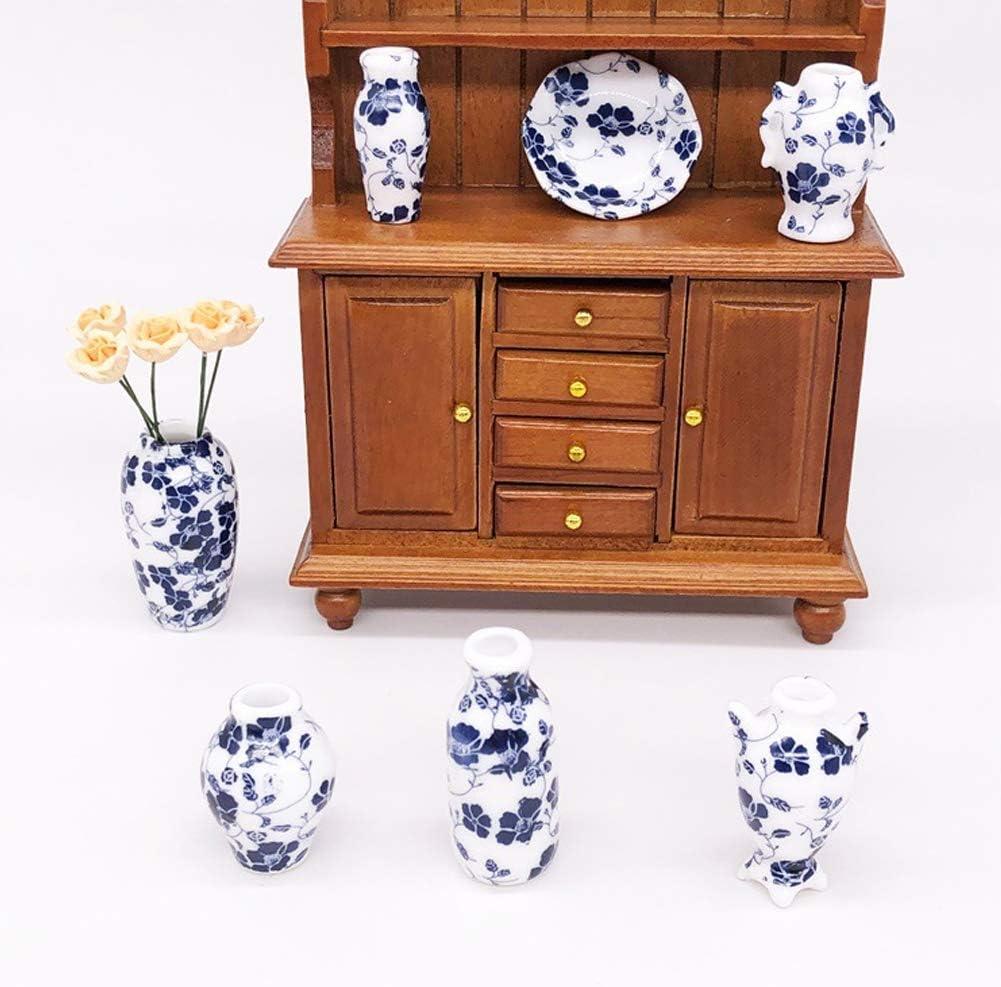 Tnfeeon Set di Vasi per Decorazione di Case per Bambole 7 Pezzi Simulazione di Porcellana Blu E Bianca di Simulazione Squisita 1:12 Dollhouse