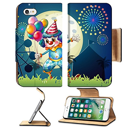 [Luxlady Premium Apple iPhone 7 Flip Pu Leather Wallet Case IMAGE 22836571 Illustration of a clown with balloons standing in front of the] (Amusement Clown Costume)