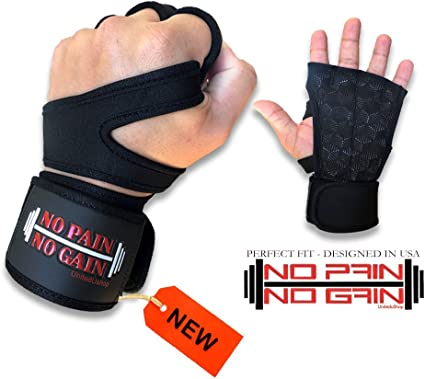 Fitness Gloves Training Workout Weightlifting Wrist Strap Strong Grip Boxing US