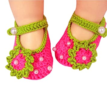 0ad5a1f9c Eleery Newborn Infant Girls Handmade Cute Rose Red Flower with bead Crochet  Knit Socks Booties Crib
