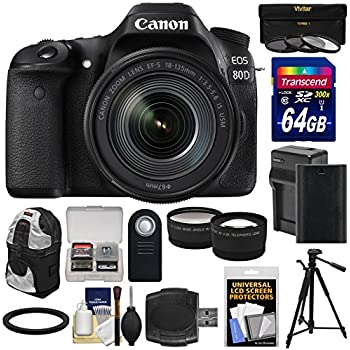 Canon EOS 80D Wi-Fi Digital SLR Camera & 18-135mm IS USM Lens with 64GB Card + Battery & Charger + Backpack + Tripod + Filters + Tele/Wide Lens Kit