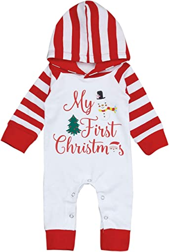 Amazon Com Yiner Baby Christmas Outfits Newborn Baby Boy Girls My First Christmas Romper Hoodie Printing Jumpsuit Pajamas Clothing