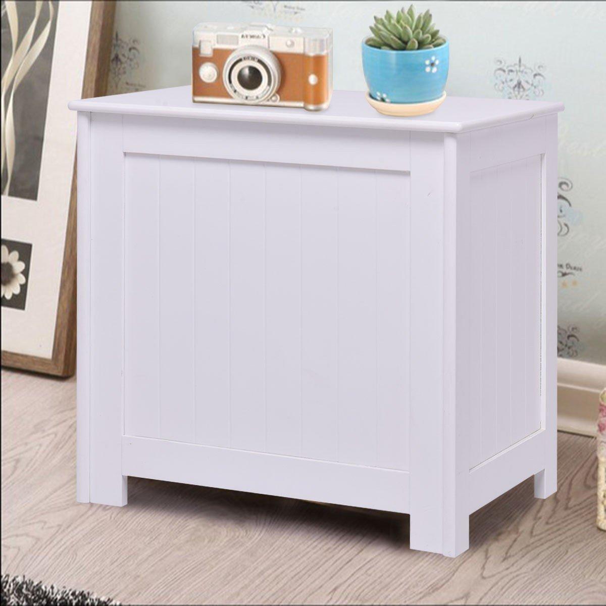 White Wood Laundry Hamper Clothes Storage Basket