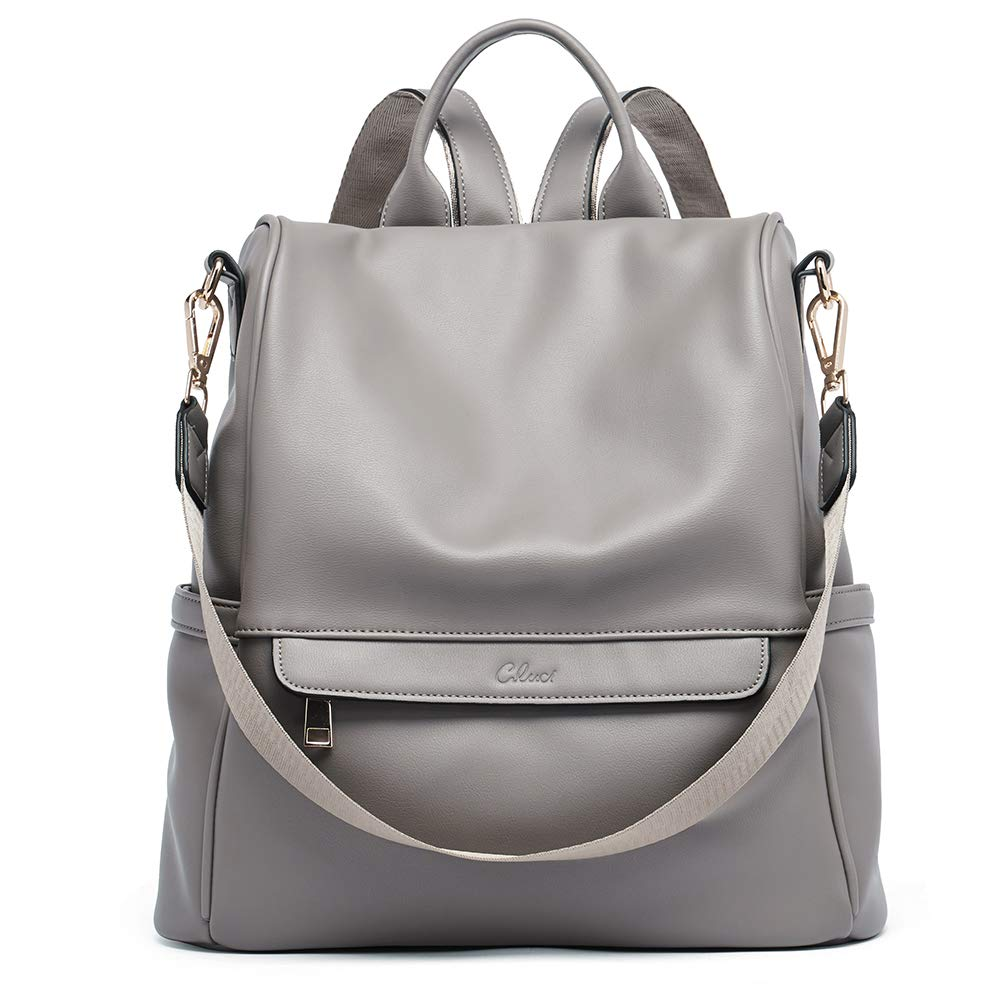Women Backpack Purse Fashion Leather Large Travel Bag Ladies Shoulder Bags grey by CLUCI