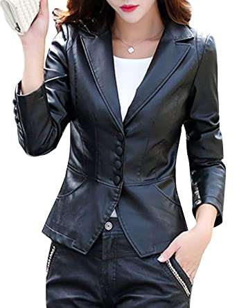 Tanming Womens Spring Autumn Lapel Button Down Faux Leather Jacket Suit  Jackets Coat (Black 2f9103eb9