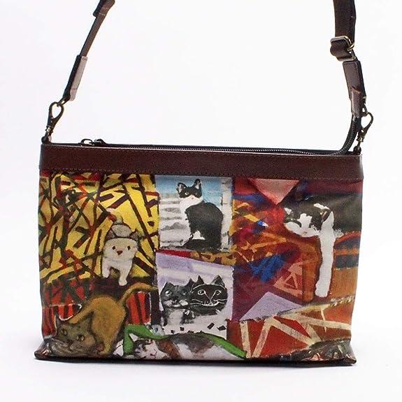 54acab6629e1 Amazon | マンハッタナーズ トラッド 2WAYバッグ 「最新猫型模様のⅡ」 (71-2250-ORG) 猫グッズ 猫雑貨 |  manhattaners(マンハッタナーズ) | 財布
