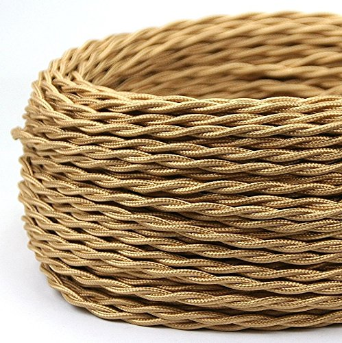 KIRIN Fabric Cloth Covered Twisted Wire Vintage 2-Conductor 18-Gauge with UL Listed DIY Industrial Lamp Electrical Cord Cable Antique Style Rose Khaki Color (15.24 meters (50FT))