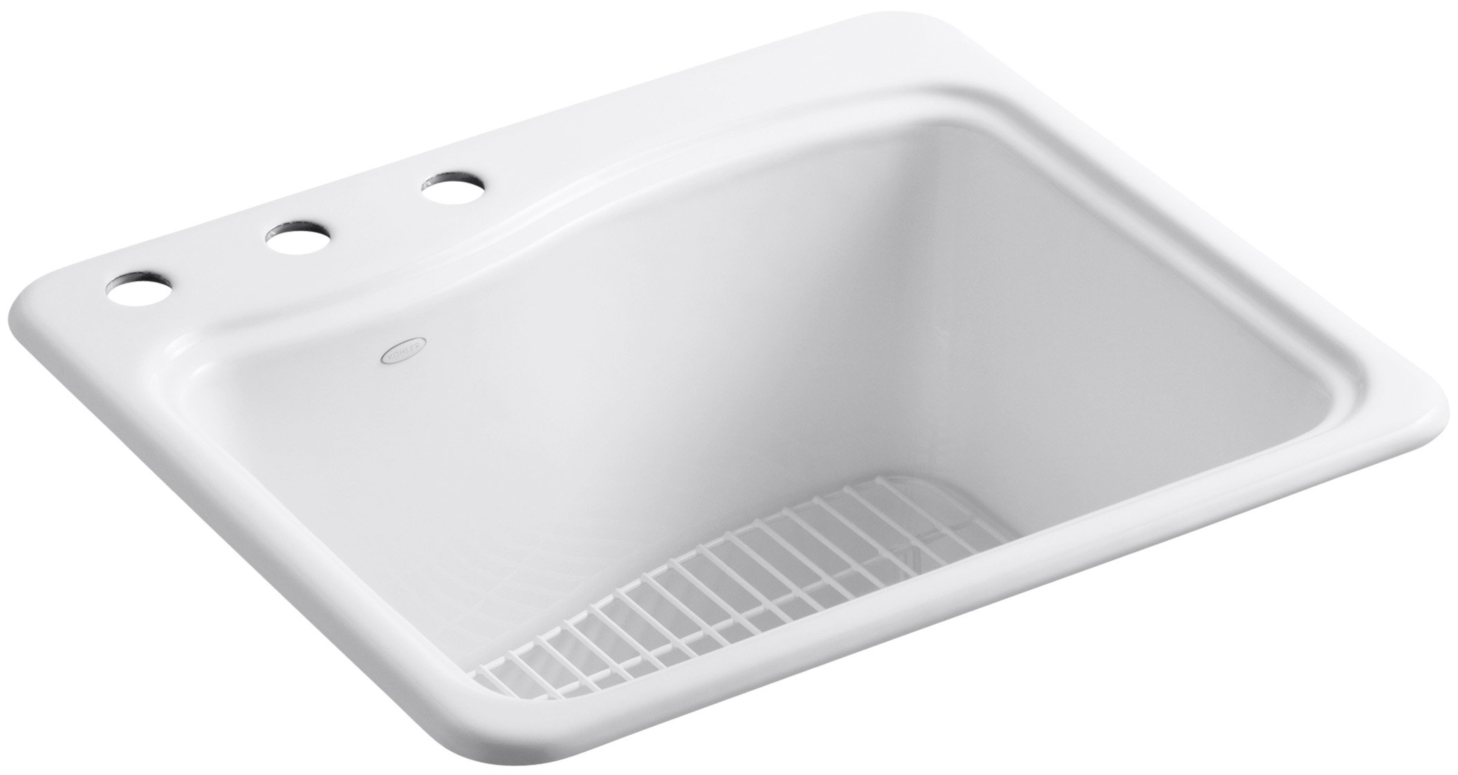 KOHLER K-6657-3-0 River Falls Self-Rimming Sink with Three-Hole Faucet Drilling, White by Kohler