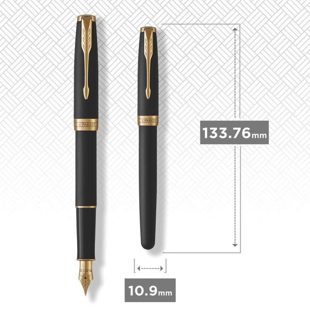 PARKER Sonnet Fountain Pen, Matte Black Lacquer with Gold Trim, Medium Nib (1931517)