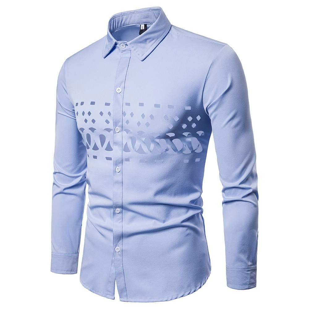 GREFER Fashion T Shirt Men's Casual Shirts Long Sleeve Hollow Personality Top Blouse Blue by GREFER