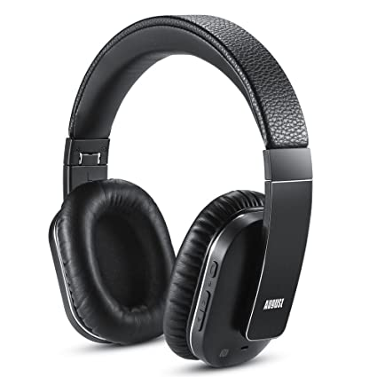 August EP750 Active Noise Cancelling Wireless Bluetooth Over-Ear Stereo Headphones with Microphone and Volume