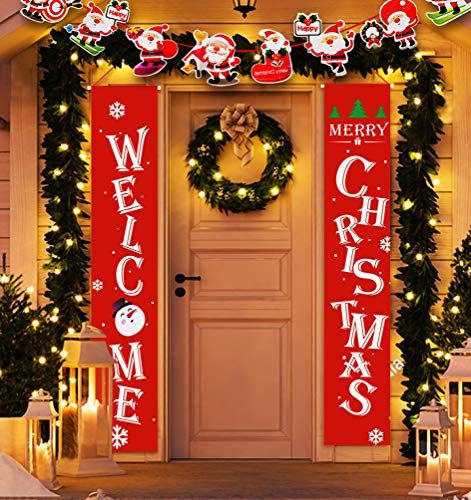 Idefair Welcome Christmas Banners, Front Door Welcome Christmas Porch Banners Red Porch Sign Hanging Xmas Decorations for Home Wall Indoor Outdoor Holiday Party Decor
