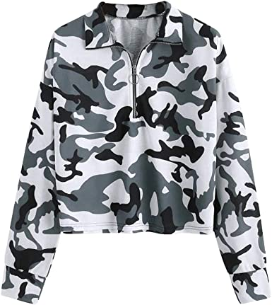 HNTDG Womens Casual 14 Zip V Neck Camouflage Printed Long