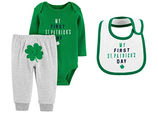 Carter s Baby s My First St Patrick s Day Bodysuit Pants and Bib Set (6  Months) 6643165e6
